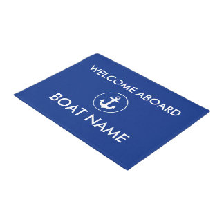 Nautical Blue Welcome Boat Name Door Mat