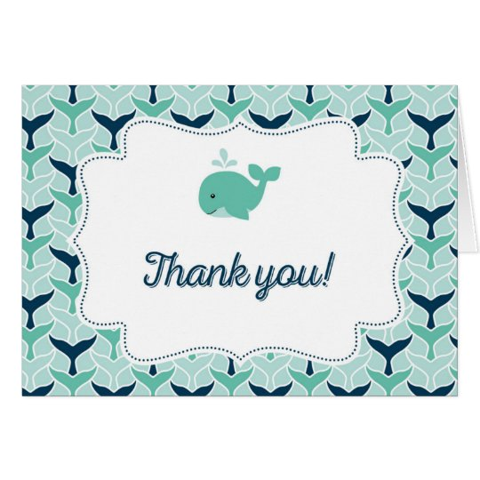 Nautical Blue Whale Thank You Card