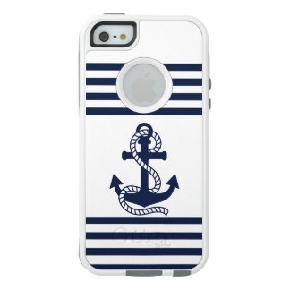 Nautical Blue White Anchor OtterBox iPhone SE/5/5s