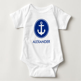 Nautical Blue White Anchor Personize Baby Bodysuit