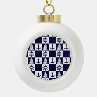 Nautical blue white checkered ceramic ball decoration