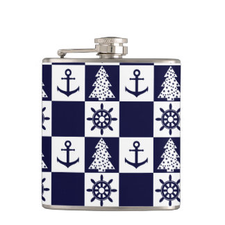 Nautical blue white checkered flask