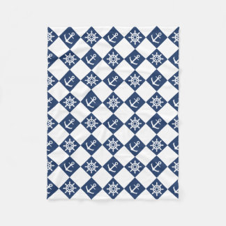 Nautical blue white checkered fleece blanket