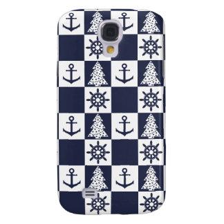 Nautical blue white checkered galaxy s4 case