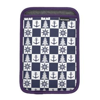 Nautical blue white checkered iPad mini sleeve