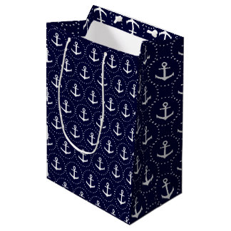 Nautical blue white checkered medium gift bag