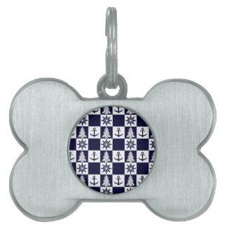 Nautical blue white checkered pet tags