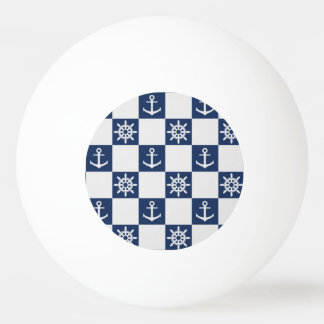 Nautical blue white checkered ping pong ball