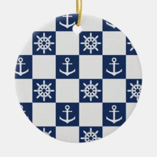 Nautical blue white checkered round ceramic decoration