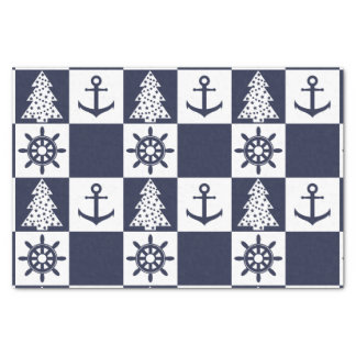 Nautical blue white checkered tissue paper