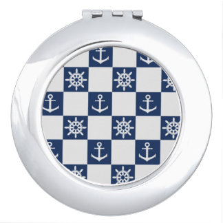 Nautical blue white checkered travel mirror