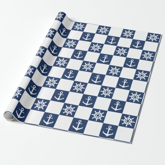 Nautical blue white chequered wrapping paper