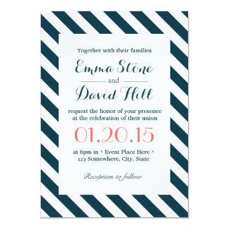 Nautical Blue & White Diagonal Stripes Wedding 13 Cm X 18 Cm Invitation Card