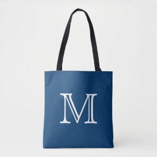 Nautical Blue White Monogram Tote Bag
