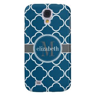 Nautical Blue | White Quatrefoil Clover Monogram Galaxy S4 Case