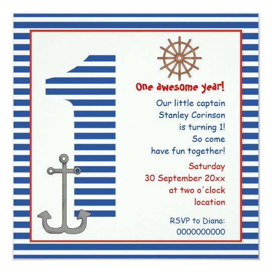 Nautical blue, white sailboat 1st birthday party card