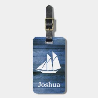 Nautical Blue Wood & White Sailboat Custom Name Luggage Tag