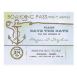 Nautical boarding pass save the date ticket postcard
