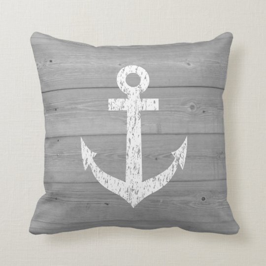 Nautical boat anchor and wood panels throw pillow