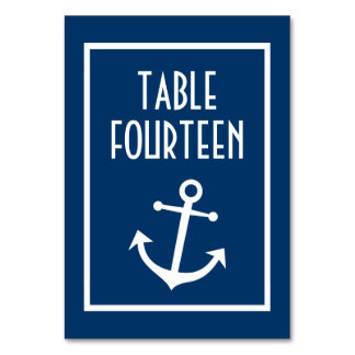 Nautical Boat Anchor Numbers (Dark Blue / White) Table Card