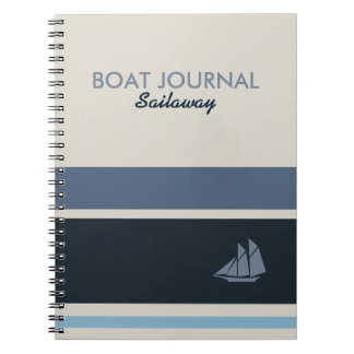 Nautical Boat Journal Customized Striped Blue