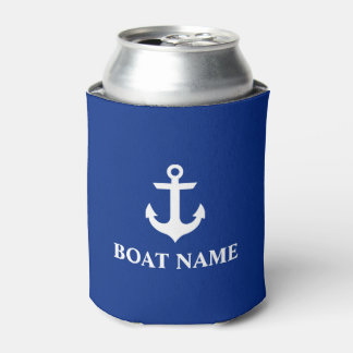 Nautical Boat Name Anchor Blue Can Cooler