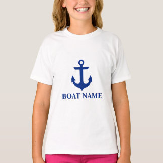 Nautical Boat Name Anchor Girls White T-Shirt