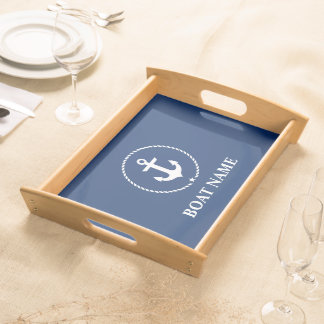 Nautical Boat Name Anchor Rope Navy Blue Serving Tray