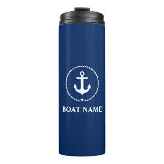 Nautical Boat Name Anchor Rope Navy Blue Thermal Tumbler