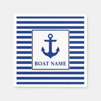 Nautical Boat Name Anchor Striped Disposable Serviette