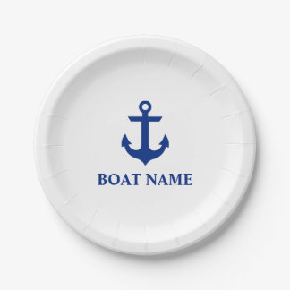 Nautical Boat Name Anchor White 7 Inch Paper Plate