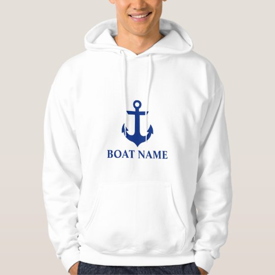 Nautical Boat Name Anchor White Hoodie