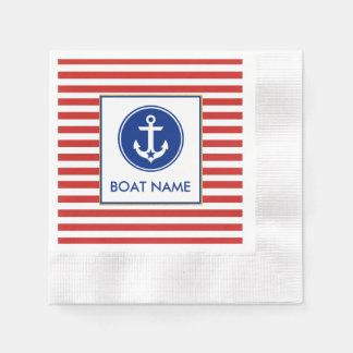 Nautical Boat Name Party Cocktail Napkin RWB Paper Napkin