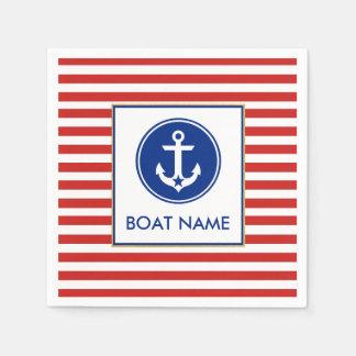 Nautical Boat Name Party Cocktail Napkins RWB Paper Napkin