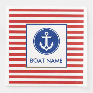 Nautical Boat Name Party Dinner Napkins RWB Disposable Serviettes