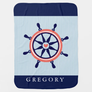 Nautical Boat Wheel & Baby Blue Stripes Baby Blanket