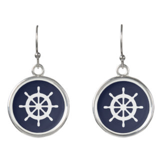 Nautical boat wheel maritime custom drop earrings