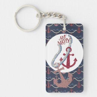 nautical boating sailing anchors matey pirate Double-Sided rectangular acrylic key ring
