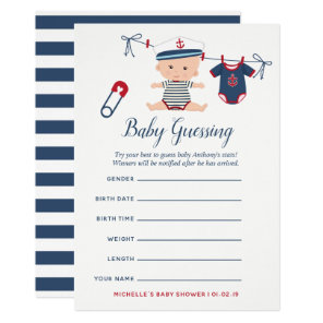 Nautical Boy Baby Shower Baby Predictions Game Invitation