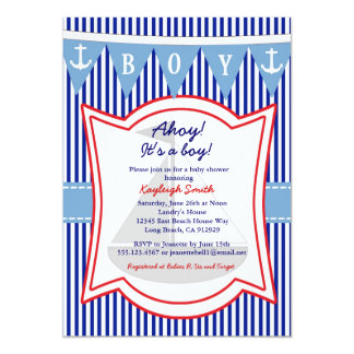 Nautical Boy Baby Shower Invitation sailing Anchor