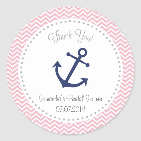 Nautical Bridal Shower Thank You Sticker