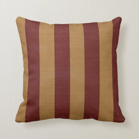 Nautical Burlap Red & Tan Stripes Cushion