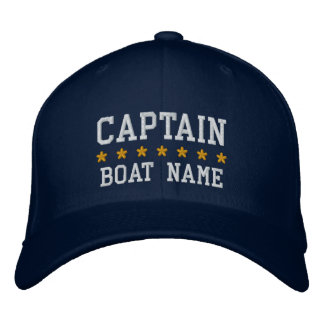 Nautical Captain Your Boat Name Cap Blue