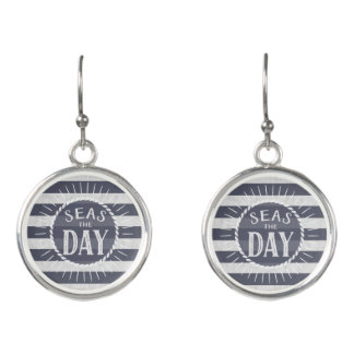 Nautical Carpe Diem Seas the Day Theme Earrings