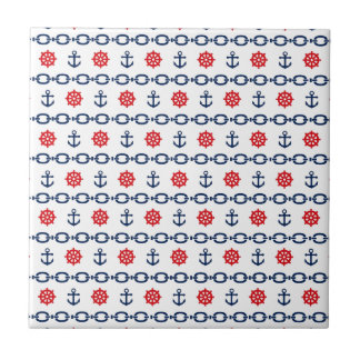 Nautical Chain in Red, White, & Blue Small Square Tile