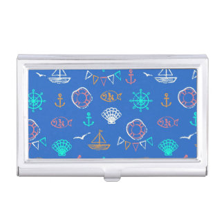 Nautical Chalk Drawing Pattern 1 Business Card Holder