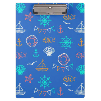 Nautical Chalk Drawing Pattern 1 Clipboard