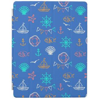Nautical Chalk Drawing Pattern 1 iPad Cover