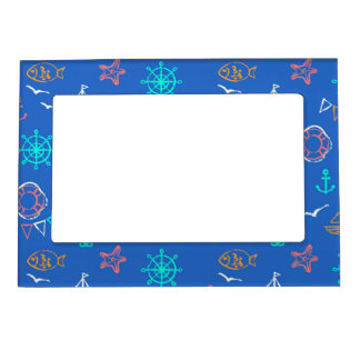 Nautical Chalk Drawing Pattern 1 Magnetic Picture Frame