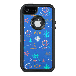 Nautical Chalk Drawing Pattern 1 OtterBox Defender iPhone Case